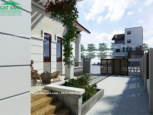 Mẫu thiết kế biệt thự cấp 4 mái ngói sân vườn đẹp