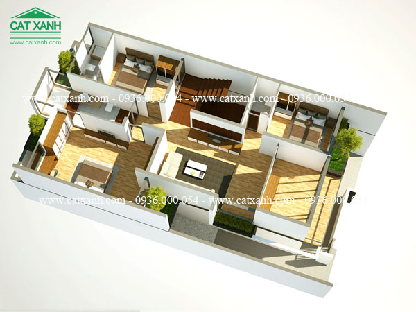 thiết kế biệt thự phố 2 tầng hiện đại