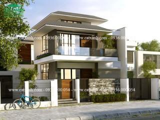 Mẫu thiết kế biệt thự phố hiện đại 2 tầng đẹp