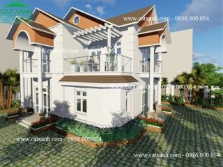 Tư vấn thiết kế biệt thự 2 tầng mái ngói sân vườn đẹp