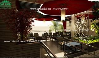 Thiết kế quán cafe sân vườn máy lạnh đẹp tại quận 9