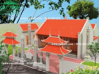 Mẫu thiết kế nhà thờ họ 3 gian mái ngói đẹp