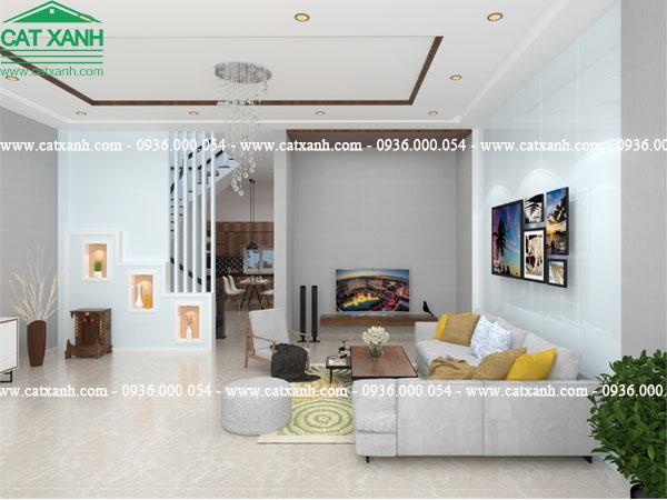 thiết kế nhà phố 2 tầng nội thất