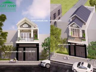 Mẫu thiết kế nhà phố 1 trệt 1 lầu mái ngói tại BRVT