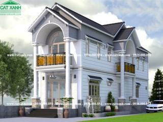 Mẫu thiết kế nhà phồ 2 tầng mái ngói tại Đồng Nai