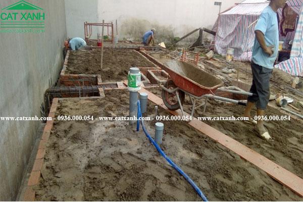 Công tác làm sắt đổ bê tông móng đà kiềng nhà phố quận 9