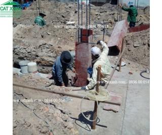 Thi công đổ bê tông phần móng công trình chú Thanh