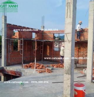 Công tác xây tường bao quanh lầu 1 công trình BRVT